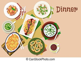 Festive dinner dishes icon for healthy menu design - Festive...