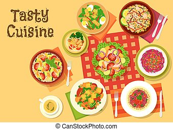 Salad dishes top view icon for healthy menu design - Salad...