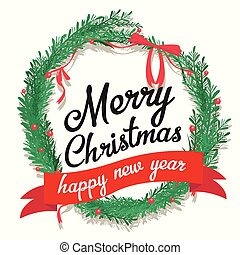 Merry Christmas and Happy New Year postcard with calligraphic text.