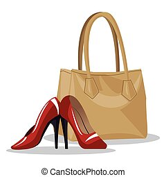 beige purse and red heel wo