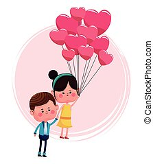 cute couple loving with pink balloons heart shaped