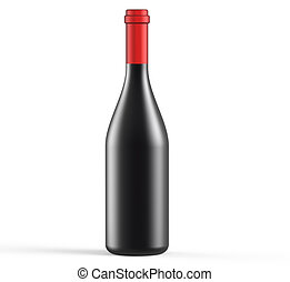 opaque wine bottle - wine bottle with blank label isolated...