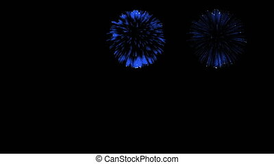 3D Render Multiple Fireworks Blue Sharp Vibrant Clean 4K ver. 44