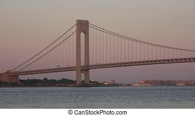 Suspension Bridge At Dusk Or Dawn