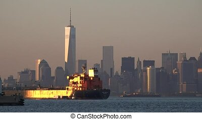 Cargo Ship In New York City