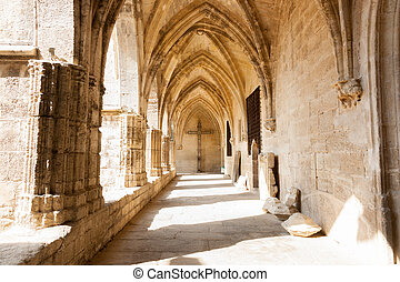 Arched cloister of historic Gothic architectural Cathedral...