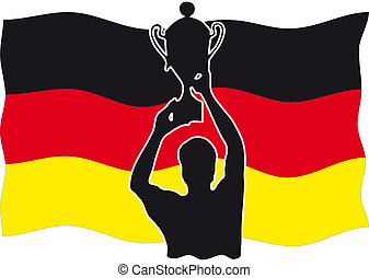 Silhouette of a winner with cup