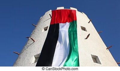 National Flag of the United Arab Emirates on a historic...
