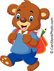 Cute bear with backpack - Vector illustration of Cute bear...