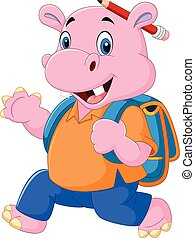 Cute hippo with backpack - Vector illustration of Cute hippo...