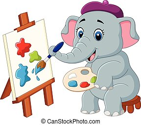 Cartoon elephant painting isolated on white background -...
