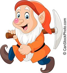 Cartoon dwarf miner - Vector illustration of Cartoon dwarf...