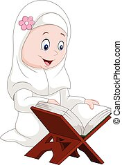 Cartoon girl reading Quran - Vector illustration of Cartoon...