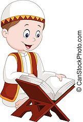 Cartoon boy reading Quran - Vector illustration of Cartoon...