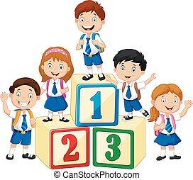 Little happy children with number block - Vector...