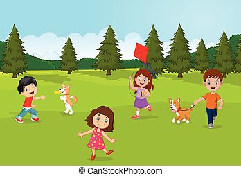 Little kids playing in the garden