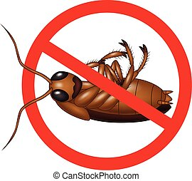 Stop Cockroach on circle background - Vector illustration of...