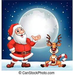 Santa and his reindeer Rudolf - Vector illustration of Santa...