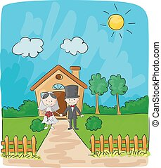 Bride and groom in front of small house - Vector...