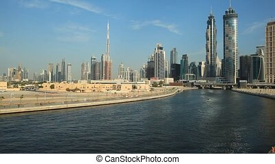 Dubai Water Canal - Slow panning shot of the Dubai Water...