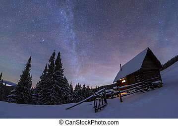 House - Fantastic night landscape glowing by milky way....
