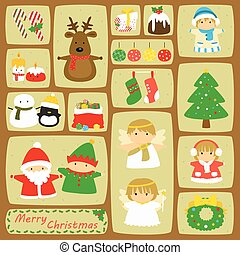 Christmas Characters and Items Vector Set