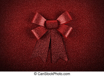 Glittering red ribbon bow for xmas