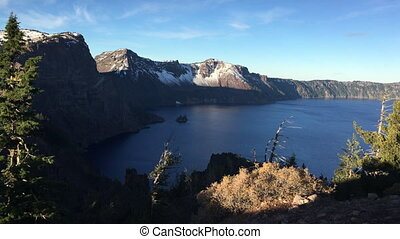 Phantom Ship Island at sunrise Crater Lake National Park...