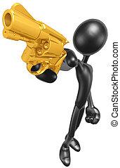 Aiming A Gold Gun