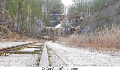 Rails in the quarry. Urals, Russia. UltraHD (4K)