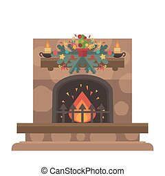 Vector fireplace. Merry Christmas and harry New Year holiday...