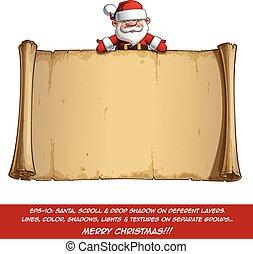 Happy Santa Scroll - Empty Label Open Hands