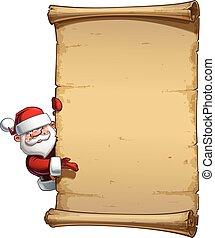 Happy Santa Scroll - Empty Label Presenting - Vector Cartoon...