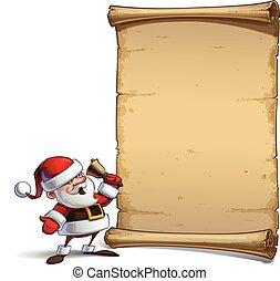 Happy Santa Scroll - Ho Ho Ho - Vector Cartoon illustration...