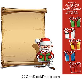 Happy Santa Scroll - Holding a Gifts