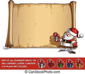 Happy Santa Scroll - Holding a small Gift