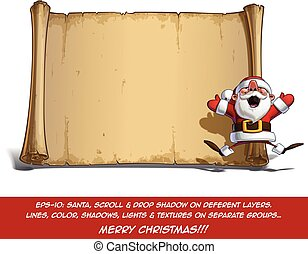 Happy Santa Scroll - Jumping in ecstasy with Open Hands -...