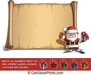 Happy Santa Scroll - Salute with a Gifts