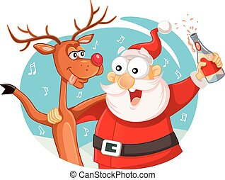 Santa Claus and his Reindeer Drinking and Celebrating Christmas.eps