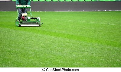 Mowing grass in a football stadium - Mowing grass in a...
