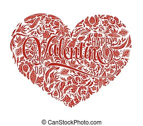 Valentine heart, doodle pattern. Vector. Hand drawn artwork. Valentine's day hand drawing background. One color print. Red on white.