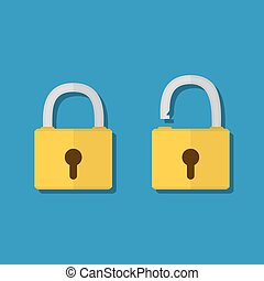 Lock open and lock closed - Opened and closed lock icons...