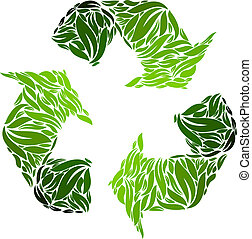 Recyclin symbol made from leaves. V