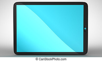 Horizontal view of modern Tablet PC with blue colored screen...