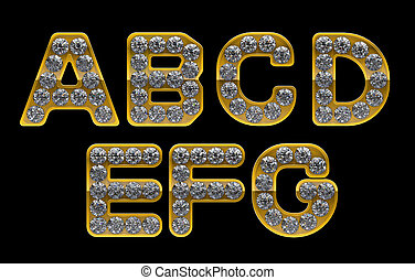 Golden A, B, C, D, E, F, G letters incrusted with diamonds...