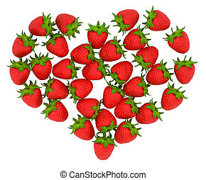 Red Strawberry shaped heart over white. Large resolution....