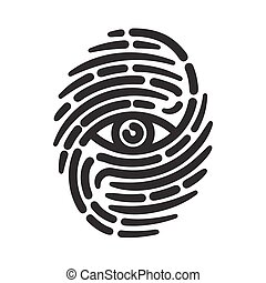 Fingerprint with eye inside. Conceptual security logo or...
