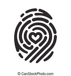 Heart fingerprint - Fingerprint with heart shape inside....