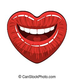 Heart shape lips - . open woman mouth with red makeup glossy...