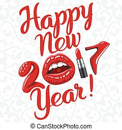 Happy new 2017 year. woman things. Red glossy lips of open...